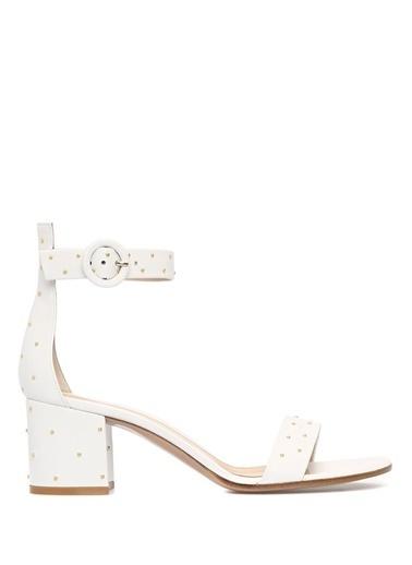 Gianvito Rossi Kalın Topuklu %100 Deri Sandalet Beyaz
